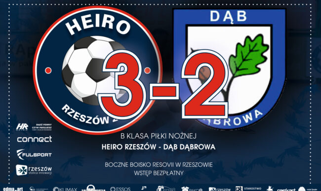 Piłka nożna: Zwycięstwo w bólach. Heiro – Dąb Dąbrowa 3-2 (1-1)